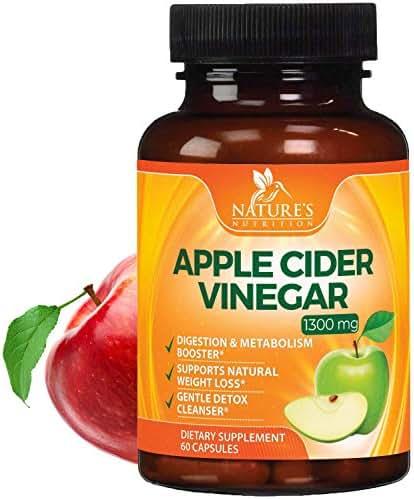 100% Natural Raw Apple Cider Vinegar Pills Highest Potency 1300mg - Weight Loss Appetite Suppressant, Made in USA, Best Vegan ACV, Metabolism Fat Burner & Detox Cleanse Supplement - 60 Capsules
