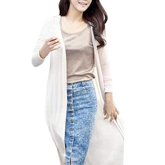 Adelina Mujer Abrigo Hipster Largos Ropa Outerwear Primavera Verano Color Sólido Manga Larga Chiffon Beach Cardigan