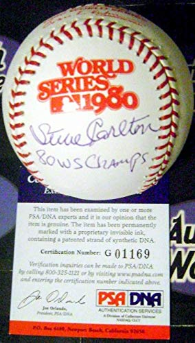 Steve Carlton autographed 1980 World Series Baseball inscribed 80 WS Champs (Philadelphia Phillies) PSA Authentication