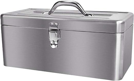 Caja de almacenamiento de herramientas de acero inoxidable 430 de 16 pulgadas con bandeja extraíble Apariencia de acero inoxidable cepillado for almacenamiento de ...