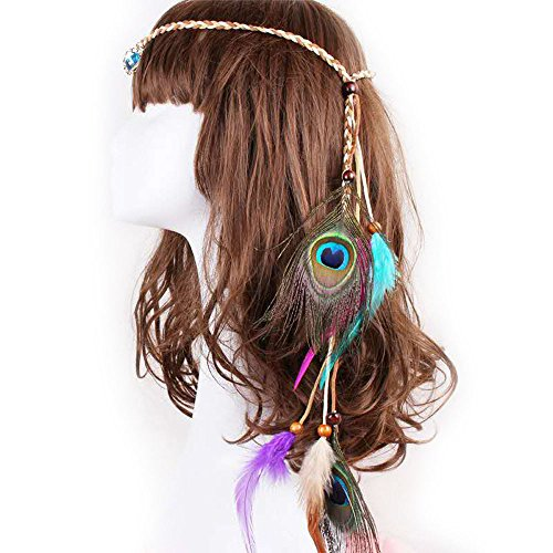 Gypsy Halloween Costumes Diy (MIGUOR Bohemian Europe and the United States Gypsy Indian feather hair ornaments head with feather hair band (coulor10))