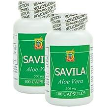 Capsulas de Savila 500mg. Set de 2 frascos con 100 capsulas c/u. Efectivo contra ulceras, agruras, mala digestion, colitis, estreñimiento. Tratamiento para mas de 3 meses.