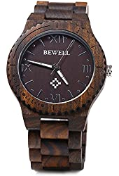 Gearbest Bewell ZS - W065A Wood Men Quartz Watch Roman Numeral Scales