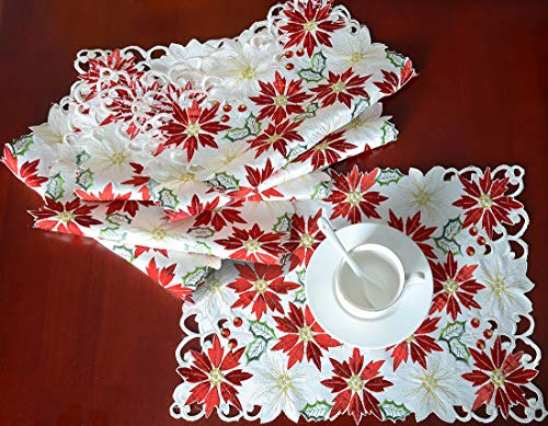Simhomsen Christmas Holiday Poinsettia Table Place-mats 12 × 18 inch Set of 6