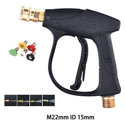 [해외]자동차 세탁기 총 3000 PSI 고압 와셔 총 5 노즐 자동차 압력 파워 와셔 (M22mm ID15mm) / Car Washer Gun 3000 PSI High Pressure Washer Gun With 5 Nozzles for Car Pressure Power Washers (M22mm ID15mm)