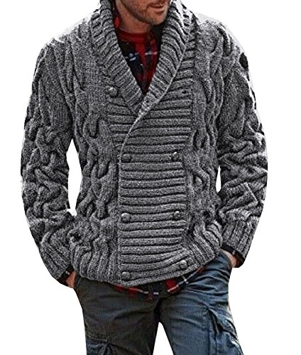 Bbalizko Mens Ribbed Knit Chunky Cardigan Double Breasted Shawl Collar Sweater Jacket (Double Breasted Shawl Collar)