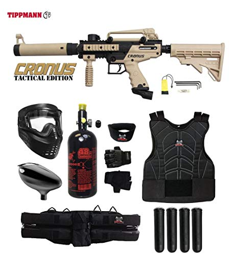 - MAddog Tippmann Cronus Tactical Starter Protective HPA Paintball Gun Package - Black/Tan