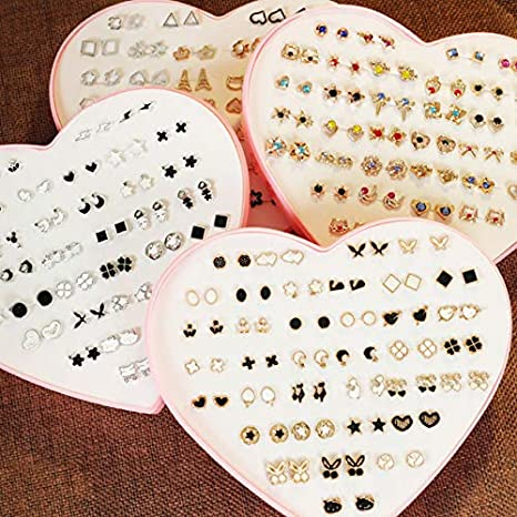 20 Pairs Stud Earrings Crystal Pearl Earring Set Ear Stud Jewelry for Girls Women Men Silver and Gold for Valentines Christmas Gifts