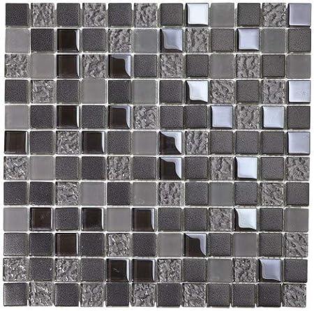 Mosaique En Verre Carreaux Gris Irise Depoli Noir Filet Carrelage Mural Credence Cuisine Salle De Bain 30 X 30 Cm Amazon Fr Bricolage