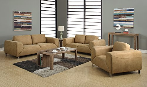 Monarch Specialties Contrast Micro-Suede Sofa, Tan/Chocolate Brown