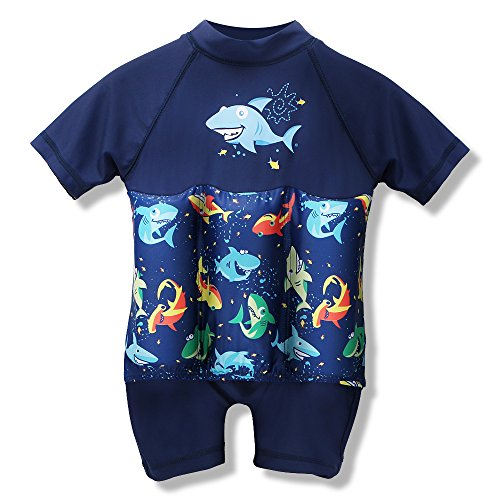 HOUZI Boys Girls Print Sun Protection Float Suit with Adjustable Buoyancy Floating Bathing Suit for Kids Learn to Swim (Boys/Shark, 110(3-4Y))