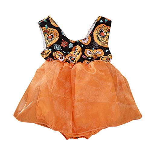 kitt Kids Baby Girls Jumpsuit Halloween Pumpkin Print Tulle Romper Bodysuit Clothes, Suitable for Girls from 0 to 2 Years Old (Orange, 70)]()