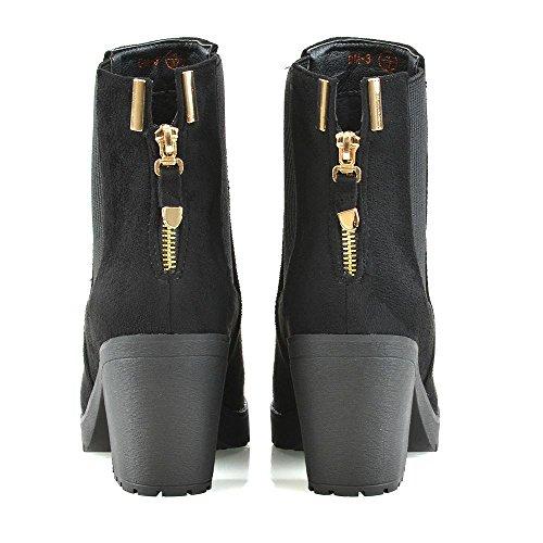 ESSEX GLAM Mujer La Cremallera Botines Señoras Elástico Plataforma Tacón Chelsea Botas Zapatos Negro Gamuza Sintética