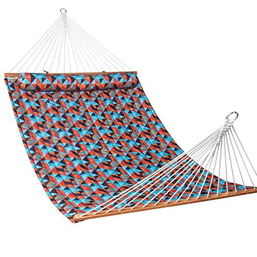 Lazy Daze Hammocks Quilted Fabric Double Size Spreader Bar Heavy Duty Stylish Hammock Swing Pillow Two Person, Retro Geometry