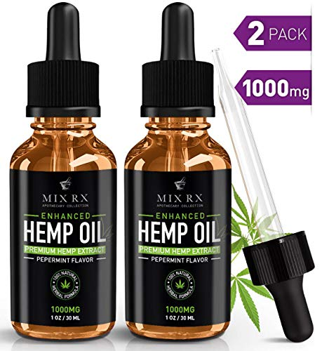 (2 Pack | 60mL) Hemp Oil for Pain Relief Anxiety Sleep Support (1000mg) Natural Organic Hemp Seed - Herbal Supplements - Tinctur