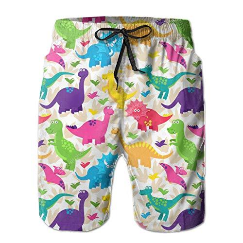 17f41d571f680 Men's Beach Shorts Baby Dinosaur Pattern Swim Trunks Board Shorts White