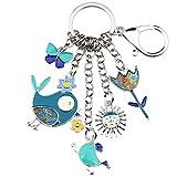 Bonsny Enamel Zinc Alloy Birds Flower Butterfly Key Chains Keyrings For Women Handbag Car Key Charms (Blue)