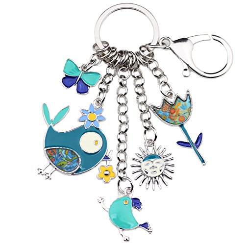 Bonsny Enamel Zinc Alloy Birds Flower Butterfly Key Chains Keyrings For Women Handbag Car Key Charms (Blue) -