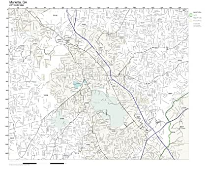 Zip Code Map Marietta Ga.Amazon Com Zip Code Wall Map Of Marietta Ga Zip Code Map Laminated