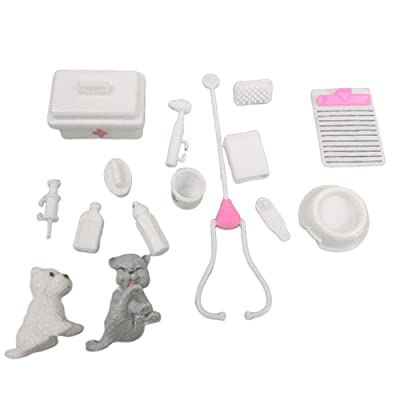 everd1487HH Miniature Toy Vet Medical Dog Kit Kids Pretend Play Toy Doll Accessories,Perfect Christmas Toys for Kids Gift: Home & Kitchen