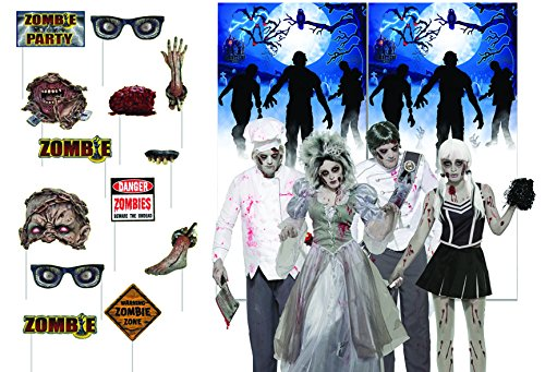 Party Props Online (Halloween Zombie Party Photo Booth Props with Zombie Selfie Backdrop by Express Novelties Online)