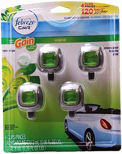 Febreze Car Vent-clip Air Freshener, Gain Original, 4 Count by Febreze