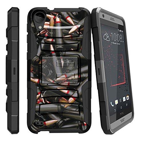 TurtleArmor | Compatible with HTC Desire 530 Case | Desire 630 | Desire 550 [Hyper Shock] Rugged Hybrid Shell Kickstand Silicone Holster Belt Clip Military War Camo - Black Bullets (Virgin Mobile Htc Desire 4g)