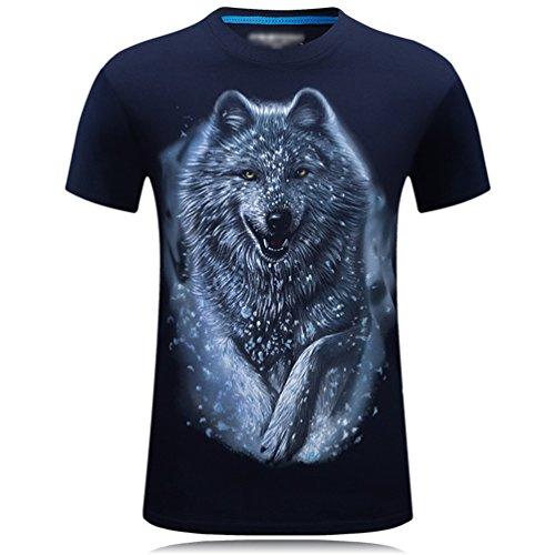 Corta Imprenta Shirt Loose Lobo Graphics 3d Tee Da O Animal Manga Tops Azul Neck Club Camisetas Cayuan Hombre Verano qYOzwPqtx
