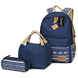 Gazigo Geometry Girls Canvas College Laptop Backpack + Lunch Bag (casual daypacks k3 Blue Sets)