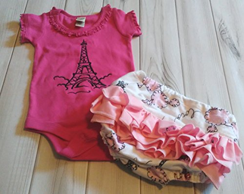 Pink Poodle Eiffel Tower Paris Ruffle Diaper Booty Cover AND Matching Eiffel Tower Onesie 6 months to 24 months