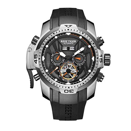 - Reef Tiger Men's Sport Watches Stainless Steel Case Rubber Strap Military Watches RGA3532 (RGA3532-YBBR1)