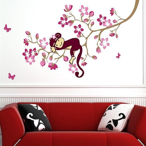 Amazon.Com : Carejoy Cute Monkey Pink Flower Blossom Tree Wall Art