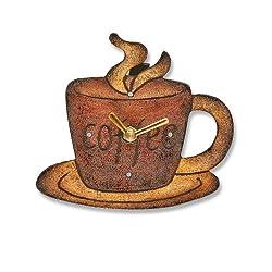 Deco Flair Coffee Mug Magnet Clock, Wood
