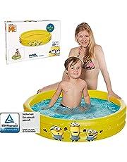Smart Planet® Minions Kinderbadje, opblaasbaar zwembad met 3 ringen, 100 x 23 cm, kinderzwembad, babypool, mini-zwembad