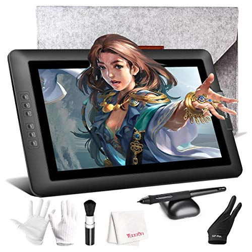Drawing Monitor, XP-PEN Artist 15.6 inch Full HD IPS Graphics Display Tablet with 8192 Level Battery Free Pen Stylus for Digital Art Sketch, Paint, Design for Windows, Mac OS Computer - Graphic Kits Display