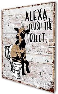 akeke Alexa Flush The Toilet Funny Bathroom Quote Sign, Cow Retro Farmhouse Wood Wall Art Decor Gift Idea for Friend Family Office/Home Guest Bathroom