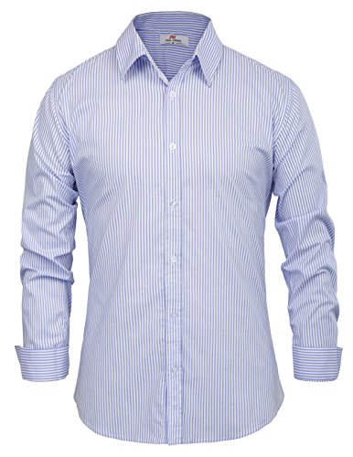 Paul Jones Men's Long Sleeves Button Down Dress Shirts Blue and white Stripe,XL