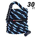 Voilamart Battle Ropes with Protector Sleeve, 30/40/50ft Length, 1.5in Diameter, Pure PolyDacron Fitness Undulation Rope for Cross Strength Training, Home Gyms Exercise, Circuits Workout
