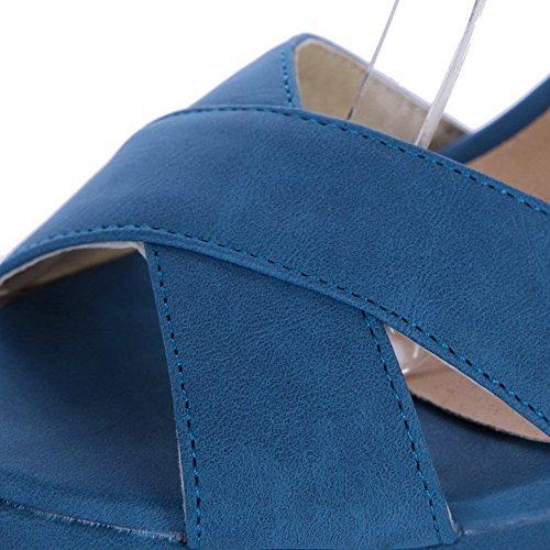 Couleur Unie VogueZone009 Haut Femme Bleu CCAFLO013179 Talon d'orteil Sandales Ouverture à Cuir PU F5qgEx4q