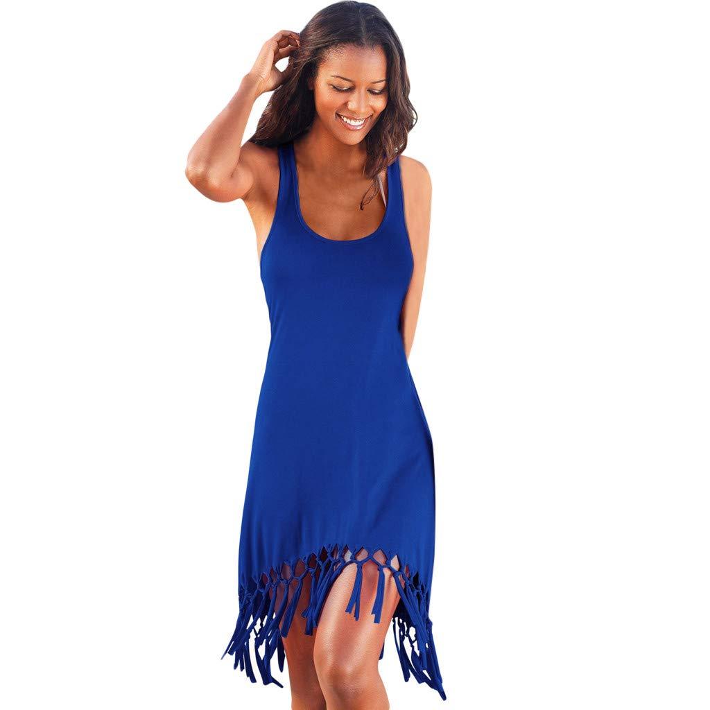 Womens Solid Casual Tassel Sleeveless Scoop Neck Summer Beach Slim Racerback Tank Dress (L, Blue) by Women Dresses Hechun