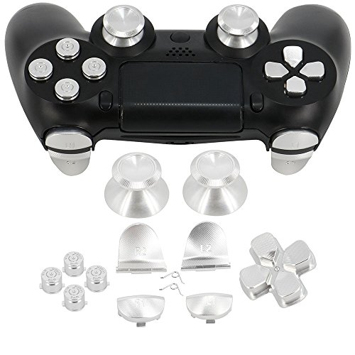 Full Aluminum Metal Buttons for PS4 Controller, YTTL Custom Metal Thumbsticks Analog Grip + Metal ABXY + D-pad + Metal L1 R1 L2 R2 Trigger Buttons for Playstation 4 DualShock 4 PS4 Controller - Silver