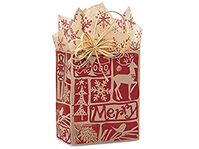 "Cub Woodcut Christmas Paper Bags Mini Pk 8x4-3/4x10-1/4"" (2 Packs; 25 Bags Per Pack) - WRAPS-WCCMC"