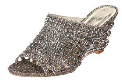 John Fashion Rhinestone Evening Slide Sandal