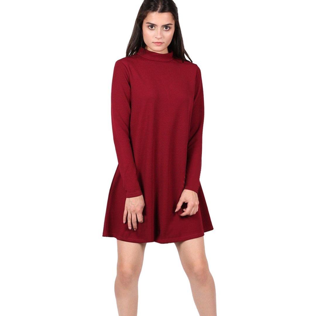 Highpot Women's Fashion Turtleneck Plain Mini Dress Pullover