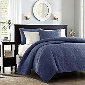 Madison Park Quebec Quilt Set – Luxurious Damask Stitching Design Anti-Microbial, Cotton Filled Lightweight Coverlet…