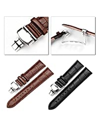 Kocome Luxury Leather Stainless Steel Butterfly Clasp Buckle Watch Band Strap 18-24mm