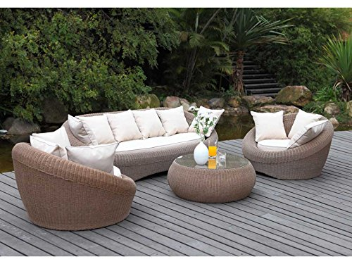 Table basse de jardin WHITEHEAVEN en résine tressée caramel: Amazon ...
