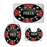 Fashion 3D Baseball Printed,Poker Tournament,Casino Chip with Poker Word in Center Rich Icon Card Suits Decorative,Army Green Vermilion White,U-Shaped Toilet Mat+Area Rug+Toilet Lid Covers 3PCS/Set