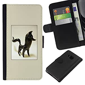 Planetar® Modelo colorido cuero carpeta tirón caso cubierta piel Holster Funda protección Para HTC One M9 ( Fox Statuette 3D Figurine Art Black Animal )