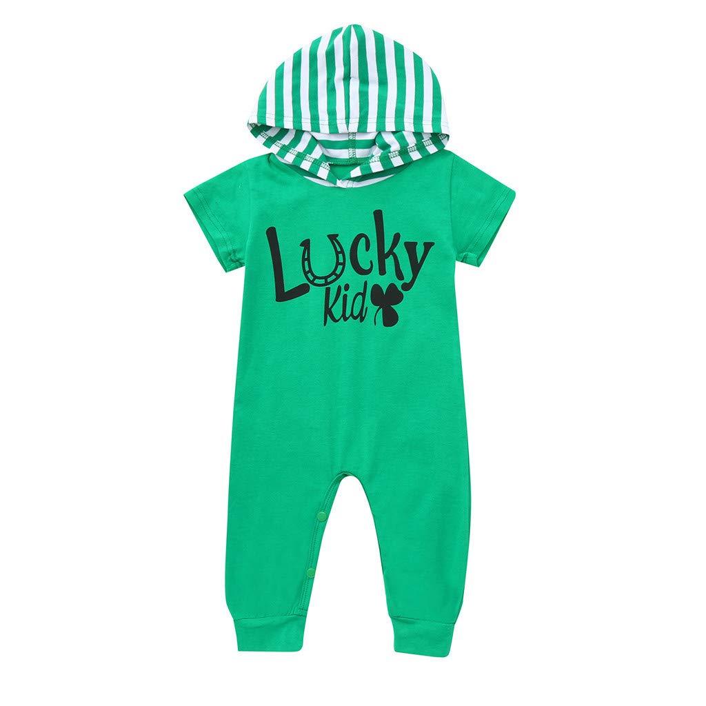 Infant Baby Summer Bodysuit Little Boys Letter Printed Short Sleeve Hooded Striped Jumpsuit Romper (Age: 18-24 Months, Green)